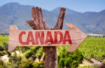 Canada wooden sign with winery background